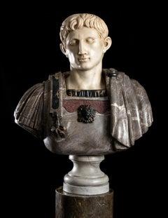 Figurative Sculpture Marble Polychrome Portrait Bust Emperor Augustus Roman