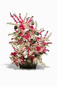"""Flower Sculpture"" Jade and Semi-Precious Stones, Pinks and Greens"