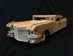 Folk Art Carved Wood Cadillac Toy