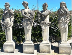 Four Season Extraordinary Set of  Italian Stone Caryatids Sculptures