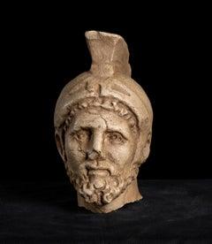 Fragmentary Marble Head of a Helmeted General Maximus Decimus Meridius Gladiator