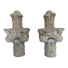 French 18th C Carved Limestone Finials A Pair