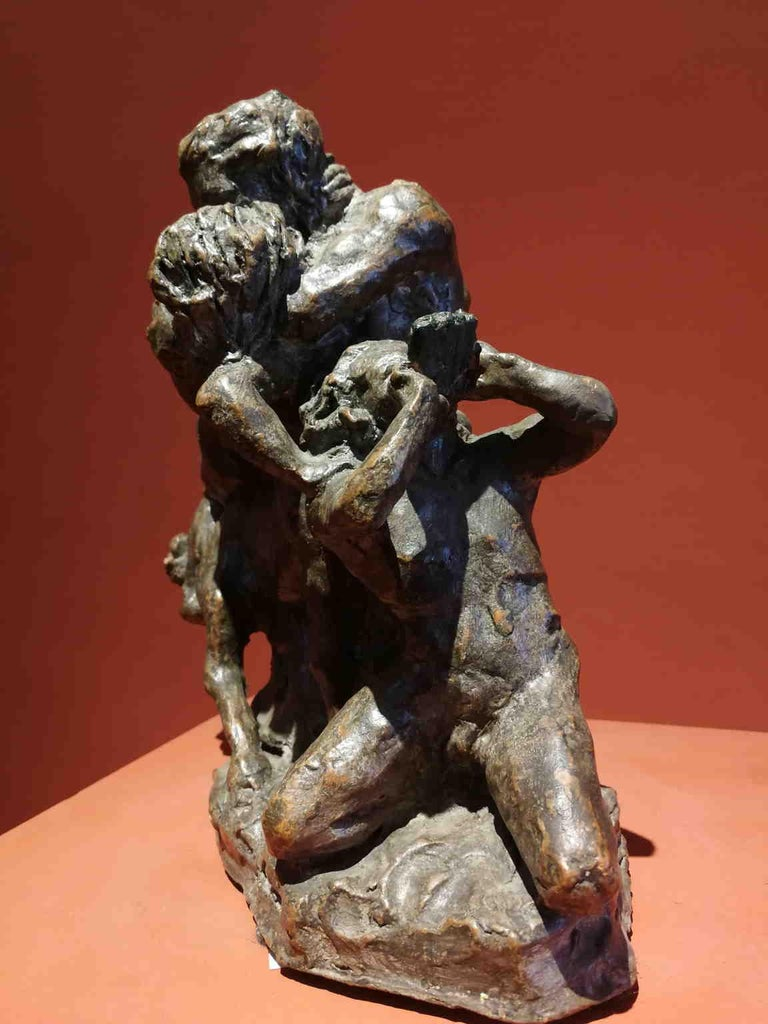 French Artist, Mythological scene, late 19th, terracotta - Brown Nude Sculpture by Unknown