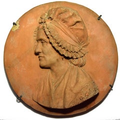 French Revolution terracotta tondo of a woman, signed and dated 1792