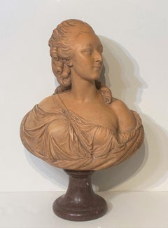 French School Terra Cotta Bust of Marie Antionette, 19th C.