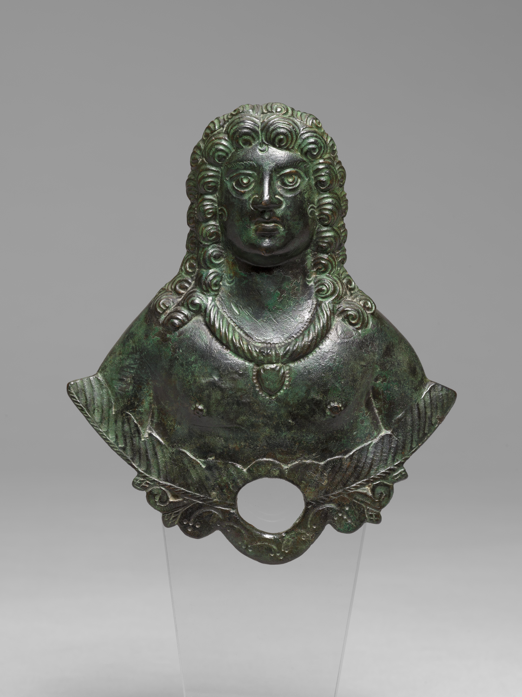 Gallo-Roman Bronze Applique Bust Figure of a Man, 3rd/4th Century A.D.