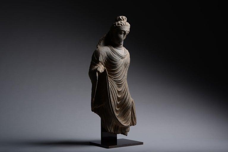 Gandharan Schist Statue of Buddha - Sculpture by Unknown
