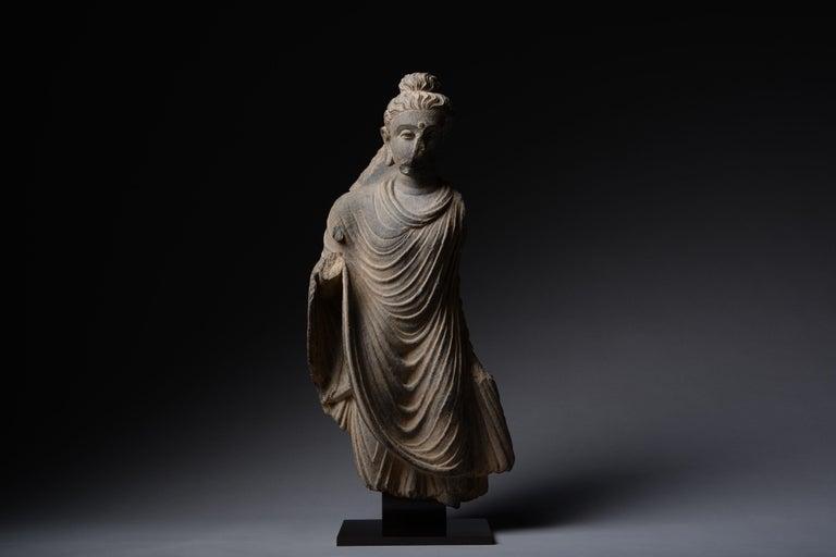 Unknown Figurative Sculpture - Gandharan Schist Statue of Buddha