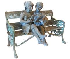 Garden Bench With Children Reading Book