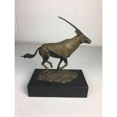 Gemsbok African Running Antelope Bronze Signed by Madleine Kay