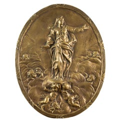 """Gilded bronze plate - """"Ascension of the Virgin"""". Italy, 17th century"""