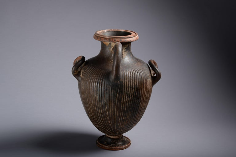 Greek Black Glazed Pottery Hydria For Sale 1