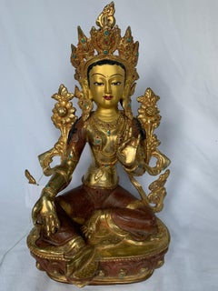 Green Tara Statue 12.5 Inch with 24K Gold Handcrafted by Lost Wax Process