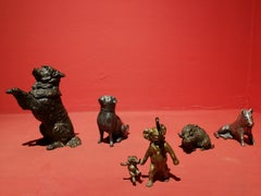 Group of 5 objects animal shaped, 19th-20th century, various metal medium,