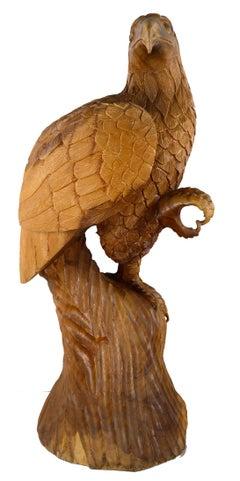 Hand Carved Wood Eagle Sculpture