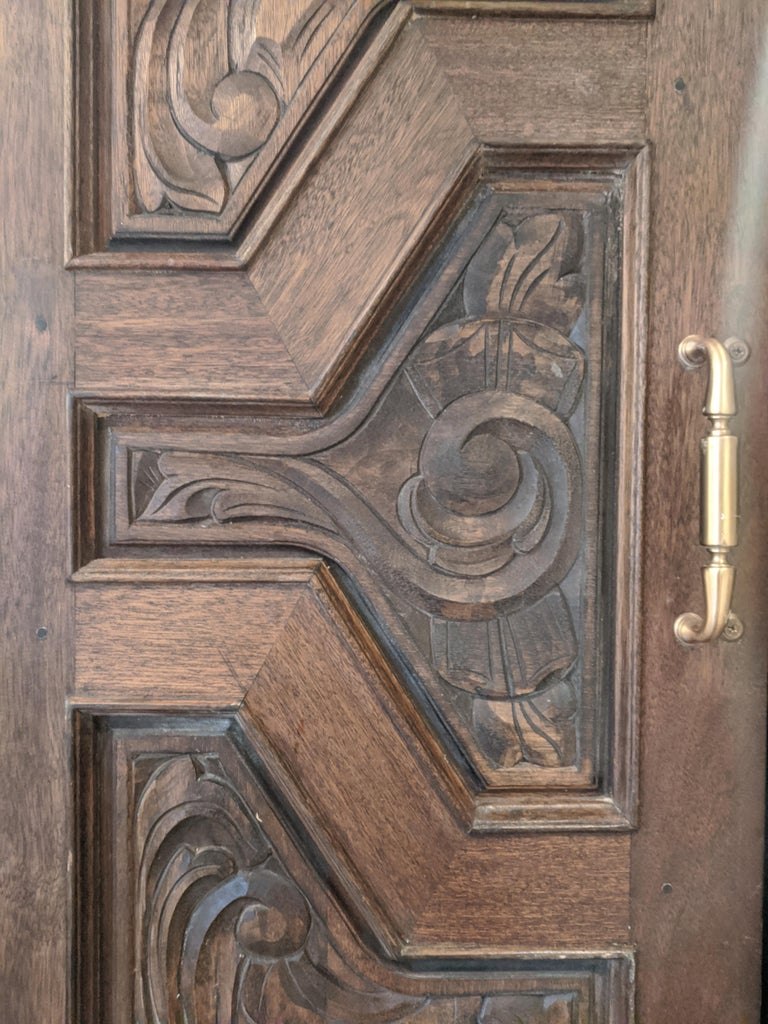 Hand Sculpted Wooden Doors - Art Deco Sculpture by Unknown