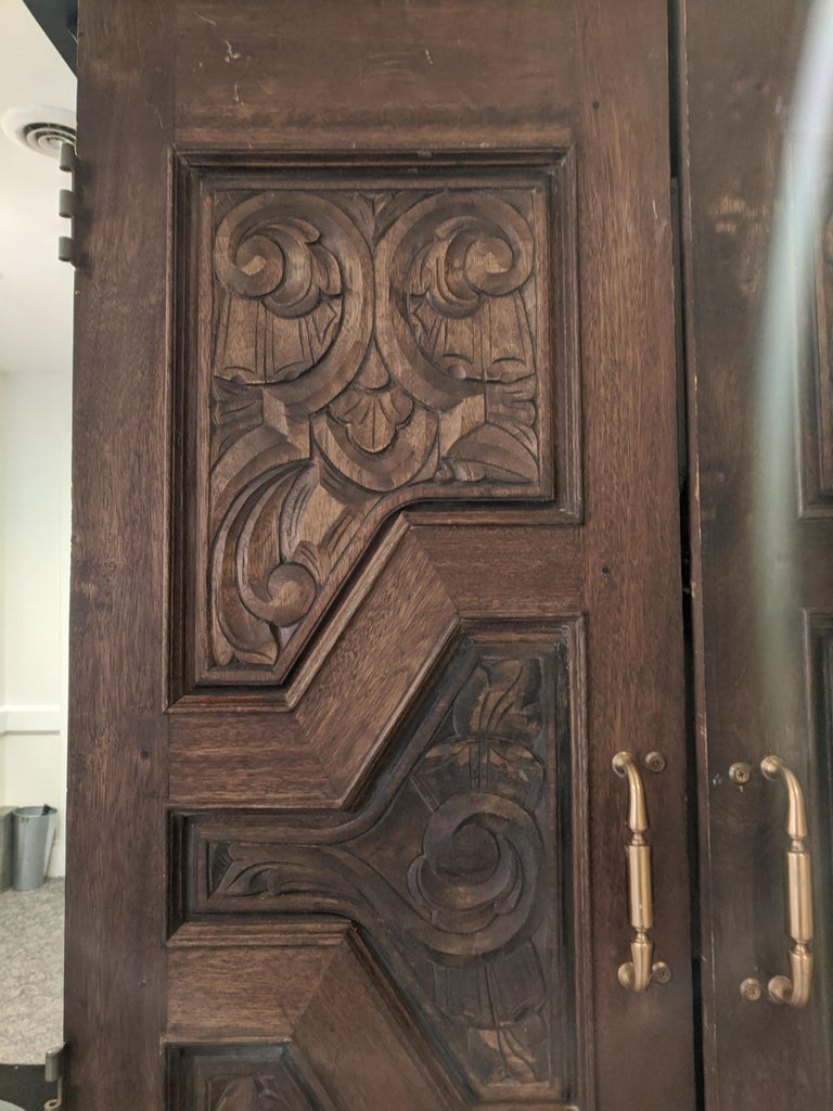 Hand Sculpted Wooden Doors - Brown Abstract Sculpture by Unknown