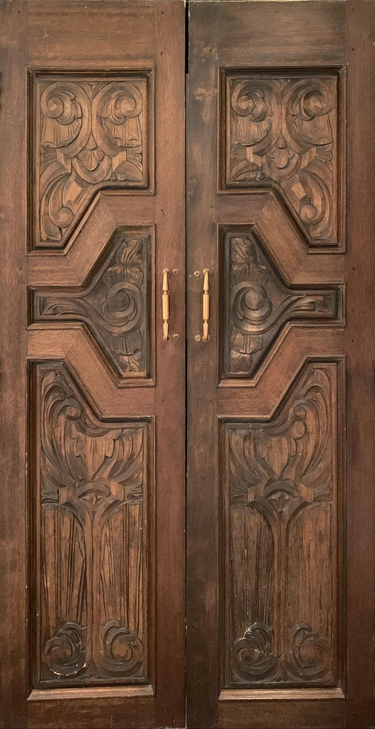 Unknown Abstract Sculpture - Hand Sculpted Wooden Doors