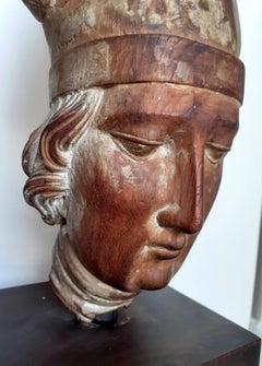 Head of a young man Saint Louis of Toulouse mediterranean santos wood carving