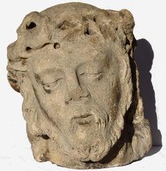 Head of Christ in limestone, Lorraine or Champagne, circa 1500