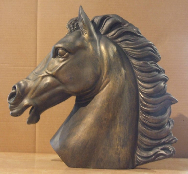 Head of horse - Black Figurative Sculpture by Unknown