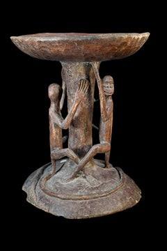 """Hemba Stool-Monkeys Zaire,"" Carved Wood created circa 1900-1920 in Africa"