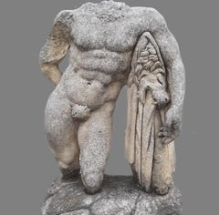 Hercules Italian Stone Sculpture of Classical Torso  with Base