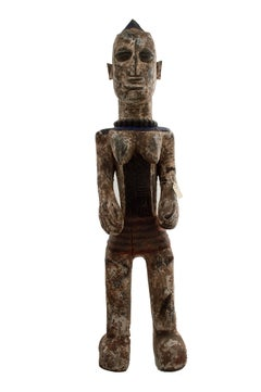 """Idgo Nigeria Female Standing,"" Wood Statue with Blue & White Pigment circa 1930"