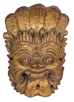 """""""Indonesian Mask,"""" Wood with Gold Leaf of Smiling Man"""