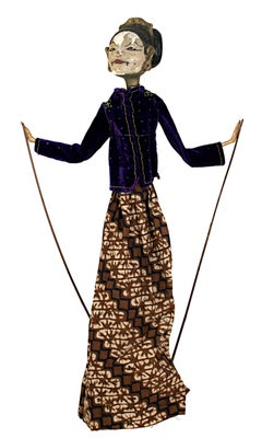 Indonesian Golek Puppet (Female), handmade with carved, painted wood and fabric