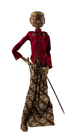 Indonesian Golek Puppet (Male), handmade with carved, painted wood and fabric