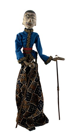 """""""Indonesian Golek Puppet (Male),"""" Handmade Carved, Painted Wood & Fabric c. 1900"""