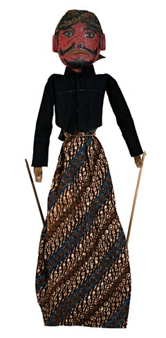 """Indonesian Golek Puppet (Male),"" Handmade Carved, Painted Wood & Fabric c. 1900"
