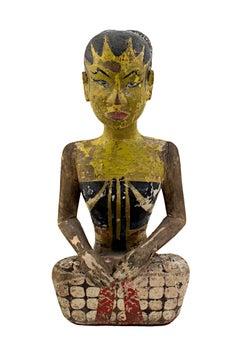 """Indonesian Loro Blonyo 19th Century Wedding Figures (Pair)"" Hand-carved Painted"