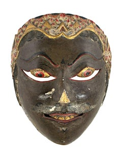 Indonesian Wooden Mask with Dark Face