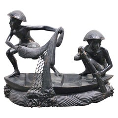 Indonesian Wooden Sculpture of Fishermen on a Boat