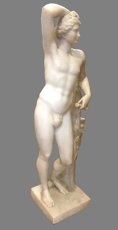 Italian 19' century Alabaster Marble Sculpture of APOLLINO  - Black Nude Sculpture by Unknown