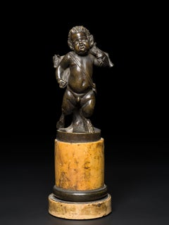 Italian Bronze Young Satyr carrying a Goat Veneto 18th Century