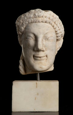 Italian Bust Sculpture White Marble of Kore