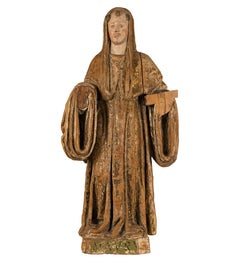 Italian Carved Painted Sculpture, Saint, Italy, 16th Century, Gilded