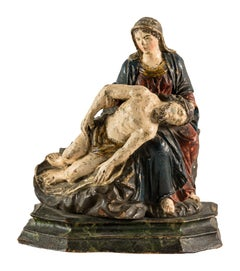 Italian Carved Painted Wood Sculpture, Piety, Virgin, Italy, 18th Century