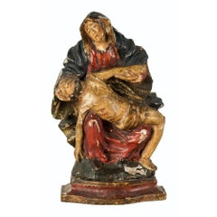 Italian Carved Painted Wood Sculpture, Piety Virgin, Italy, 18th Century