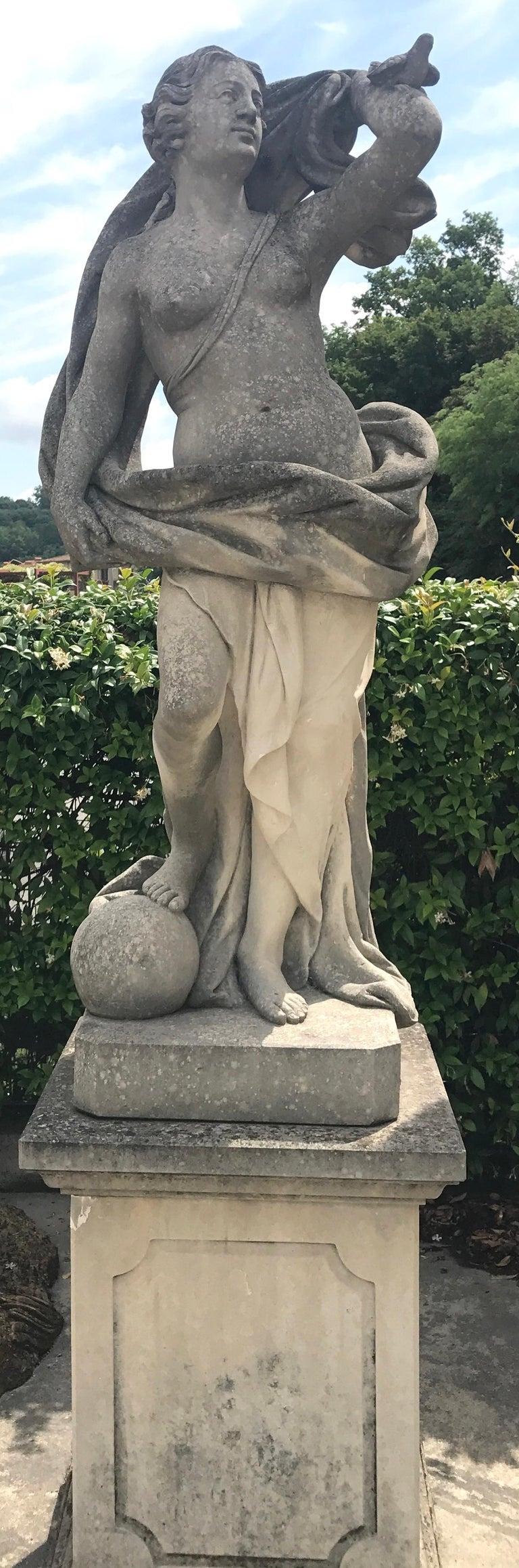 Italian Limestone Garden Sculptures of Aria a  Roman Goddness   - Black Nude Sculpture by Unknown