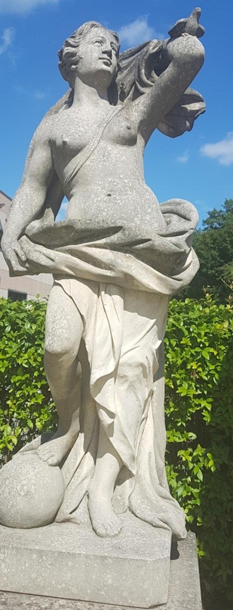 Unknown Nude Sculpture - Italian Limestone Garden Sculptures of Aria a  Roman Goddness