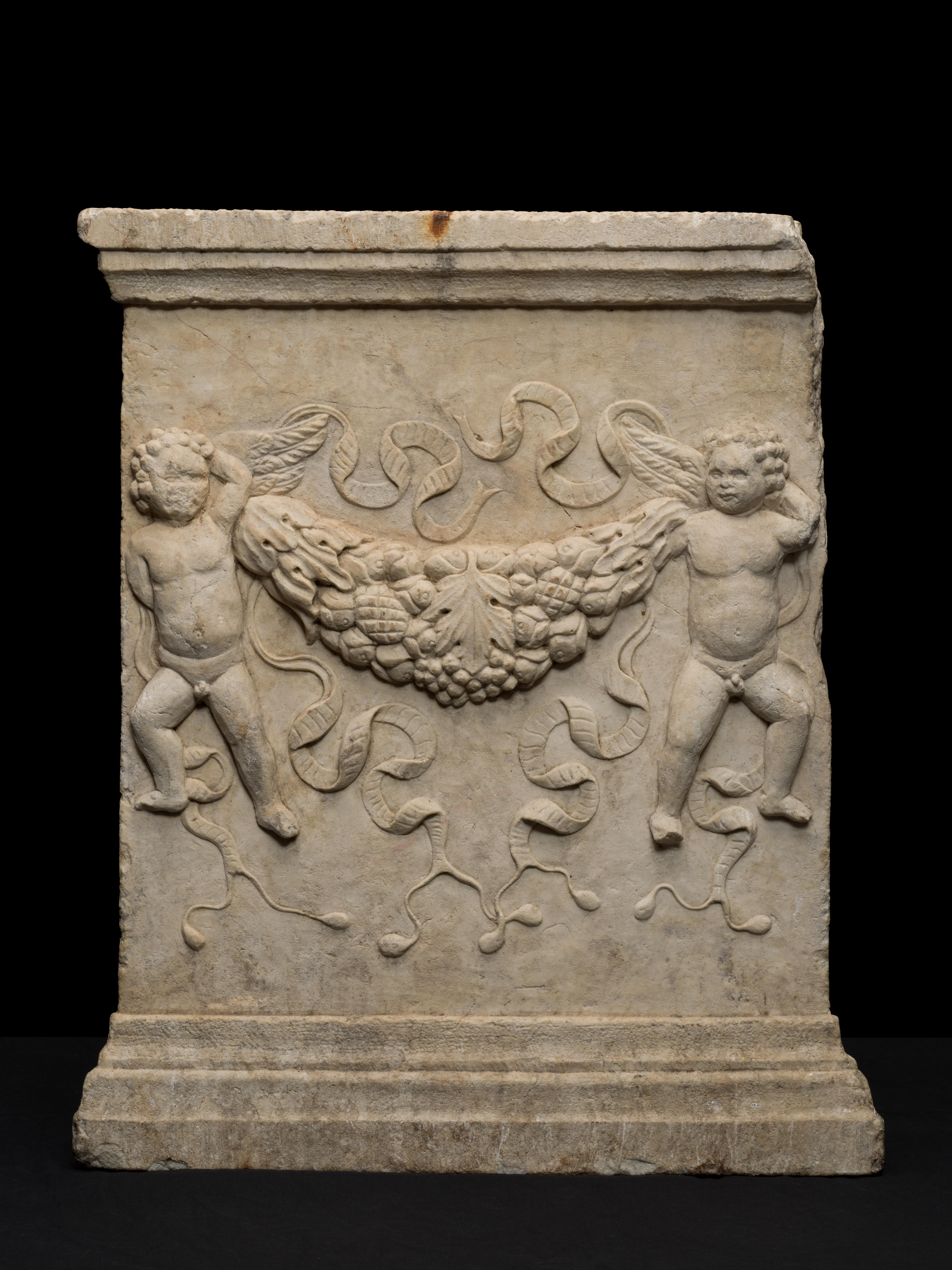 Italian Marble Relief with Putti Holding Garlands 16th Century