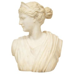 'Italian School, 19th Century' A White Marble Bust of Goddess Diana Artemis