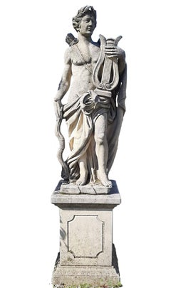 Italian Stone Garden Sculpture of Roman Mythological subject Apollo
