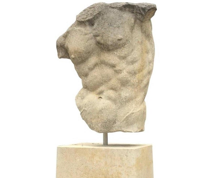 Italian Stone Sculpture of Classical Torso with Base For Sale 1