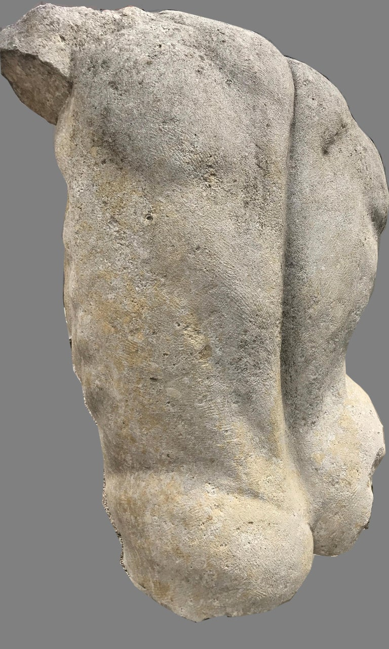 Italian Stone Sculpture of Classical Torso with Base For Sale 2