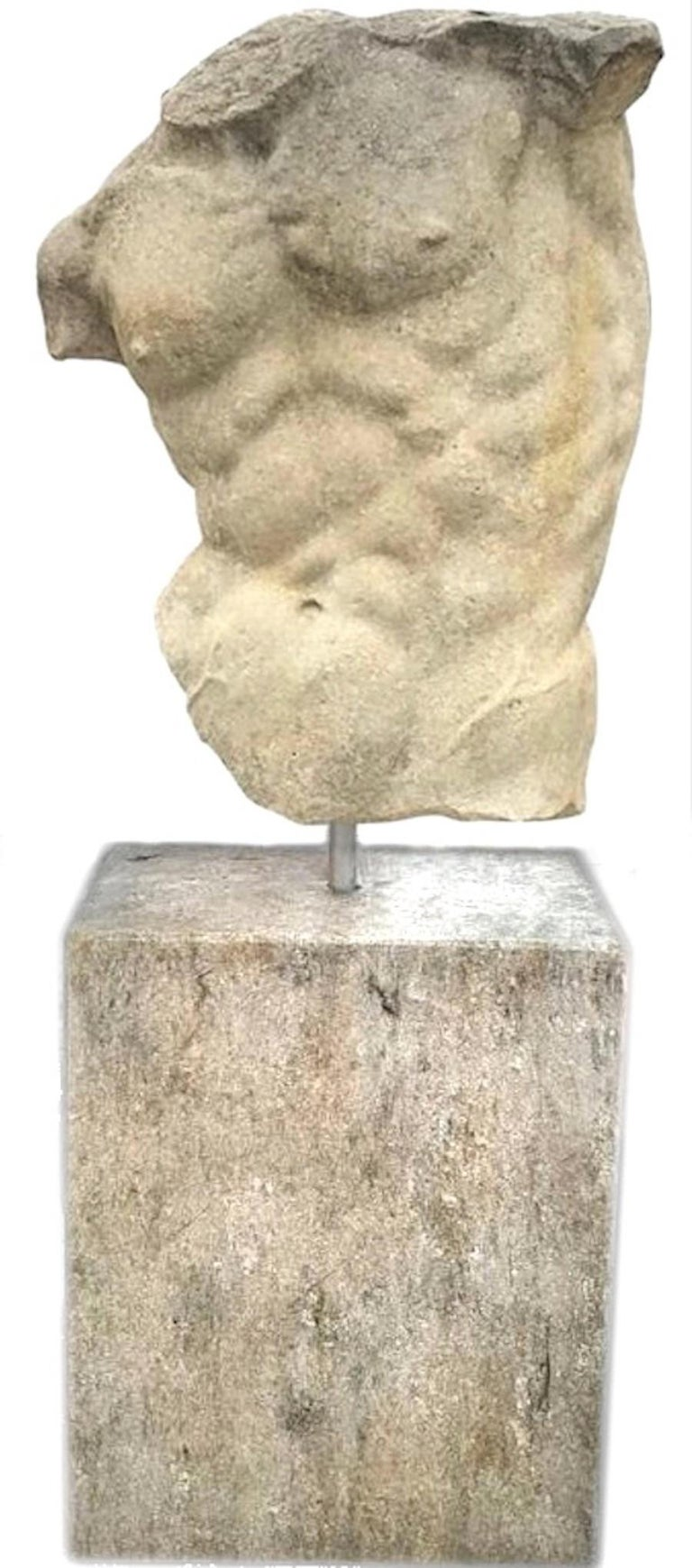 Italian Stone Sculpture of Classical Torso with Base For Sale 3